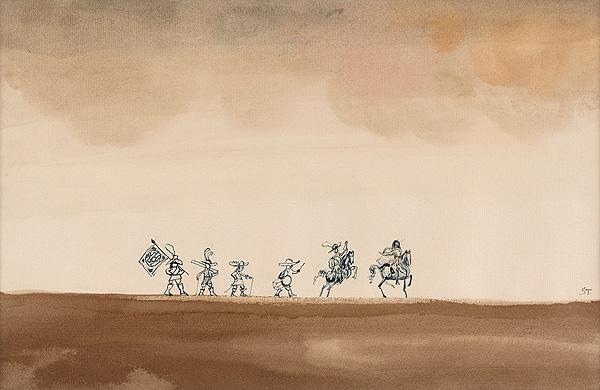Landschaft mit Soldaten und Reitern