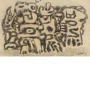 abstraktes Gemälde mit geometrischen Elementen