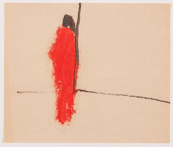 Figur in rotem Gewand abstrakt
