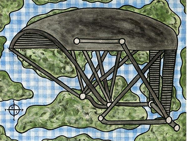 graues Gestell vor einer Art Landkarte