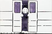 Gesicht in Zugtür