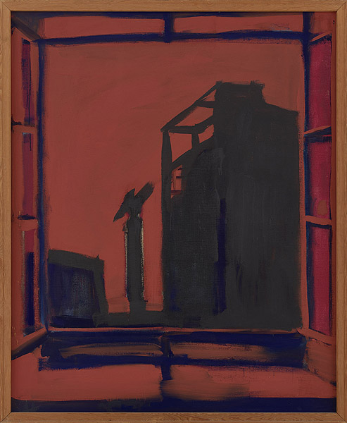Fenster vor braunem Hintergrund mit Baustelle