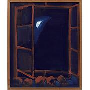 Fenster vor dunkelblauem Hintergrund mit Mondsichel