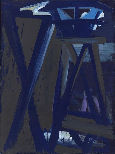 blaugrauer Turm in der Nacht