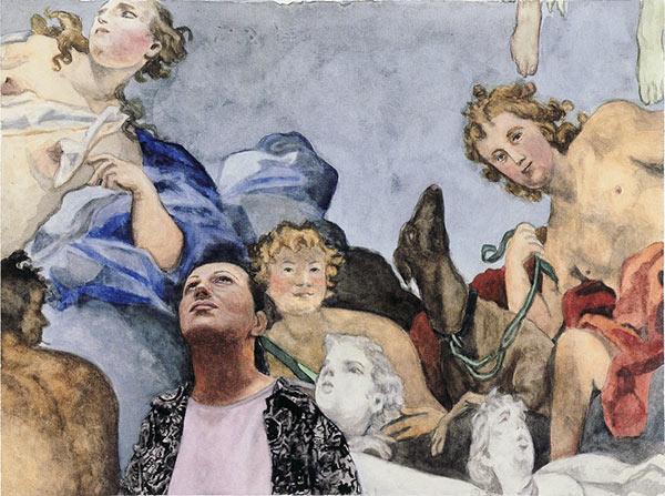 Mann vor einem Wandgemälde