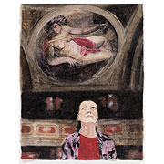 Frau vor einem Deckengemälde
