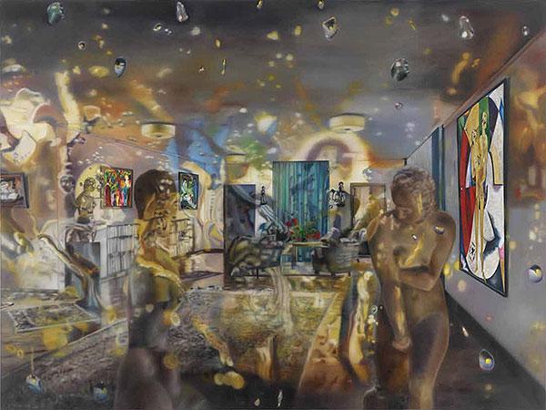 Blick in einen Raum mit Kunstwerken, malerisch verfremdet