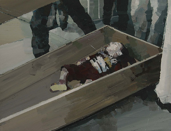 Kinderleiche in einem Sarg