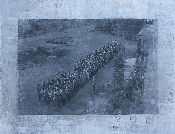 Soldaten in Reihen aufgestellt