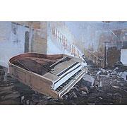 zerstörter Raum mit zerstörtem Konzertflügel