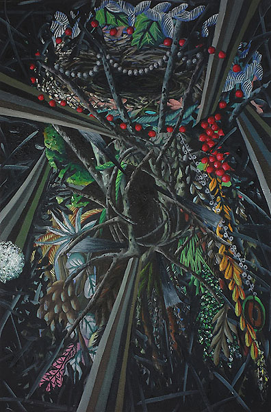 abstrakte Komposition mit pflanzlichen Motiven