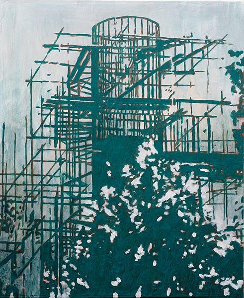 Turm eingerüstet