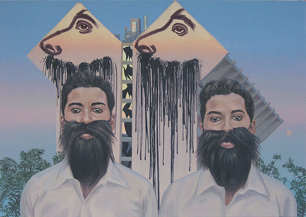 zwei Personen mit umgehängten Bärten