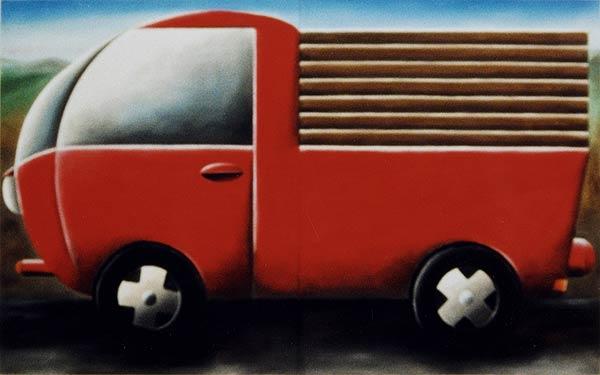roter Lieferwagen