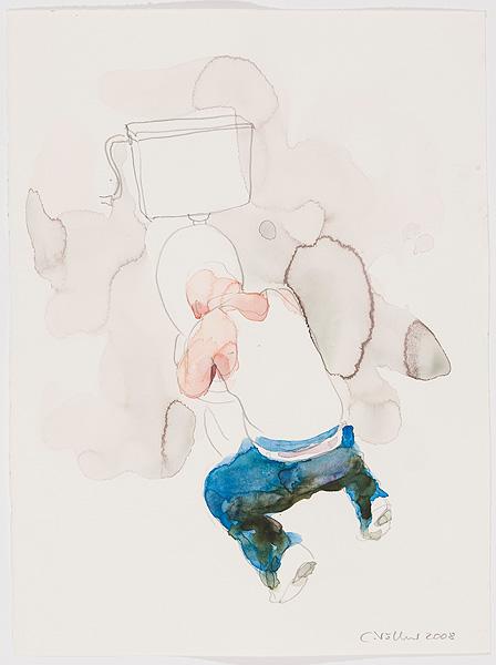 Mann vor der Toilettenschüssel