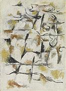 abstraktes graubraunbetontes Gemälde mit geometrischen Elementen