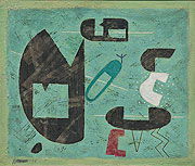 abstraktes grünbetontes Gemälde mit geometrischen Elementen