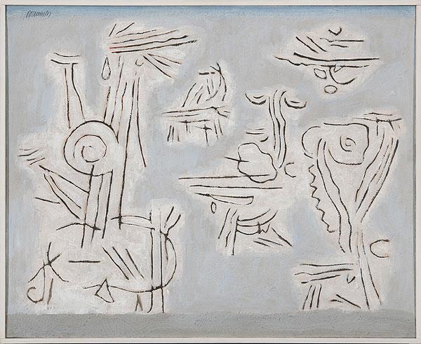 abstraktes graubetontes Gemälde mit geometrischen figürlichen Elementen