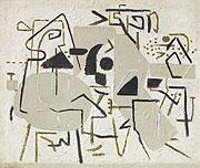 abstraktes graubetontes Gemälde mit geometrischen Elementen
