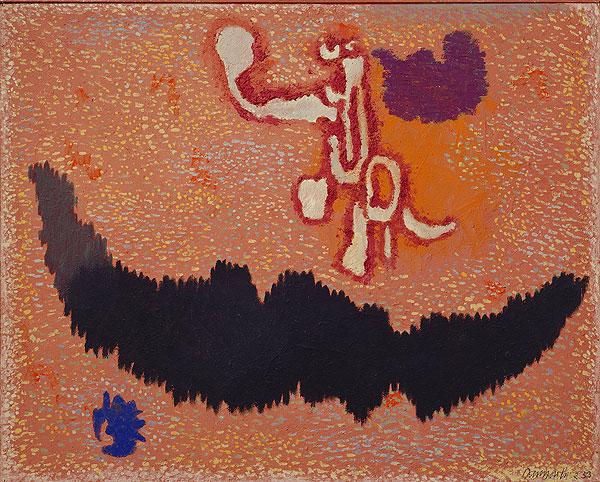 abstraktes braunbetontes Gemälde mit geometrischen Elementen