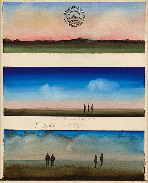 drei Landschaftsansichtenen mit Menschen