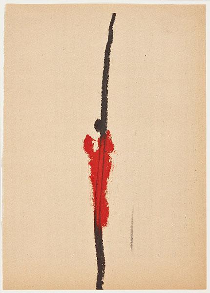 rote Figur vor Schrift