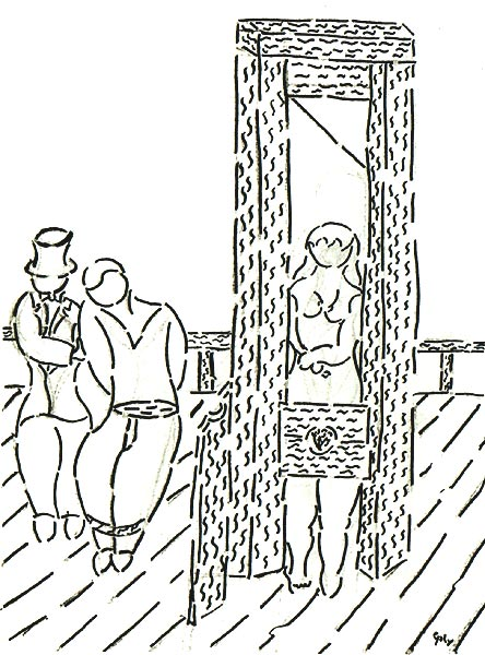 Frau steht aufrecht in einer Guillotine