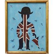 Mann mit Muster der britischen Flagge