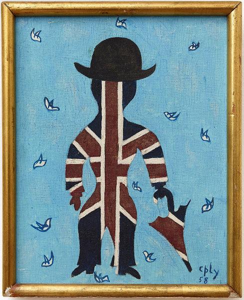 Man mit Muster der britischen Fahne