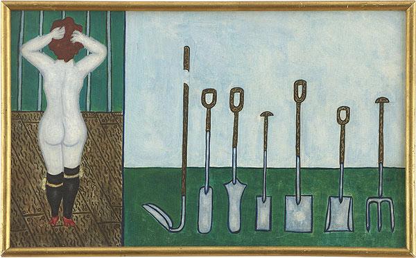 unbekleidete Frau und Gartengeräte
