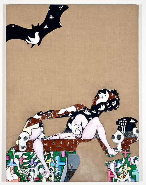 Frauengestalt mit einer Fledermaus