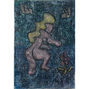 unbekleidete Frau vor blauem Hintergrund