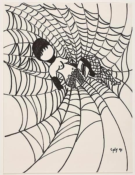 Frau in einem Spinnennetz