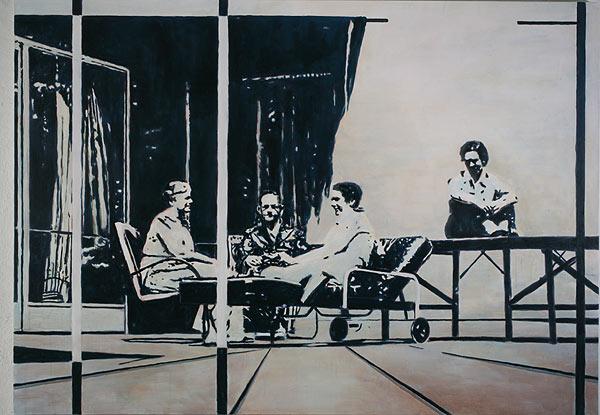 vier Personen im Gespräch