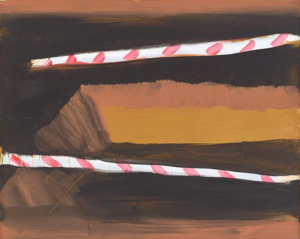 zwei dicke rotweiß gestreifte Linien vor einem Hintergrund in Erdtönen