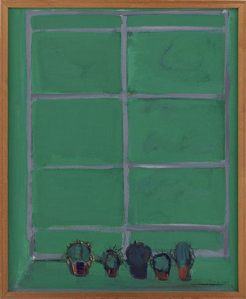 Fensterkreuz vor grünem Hintergrund