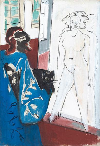 männliche Figur mit Katze auf dem Arm vor nacktem weiblichen Modell