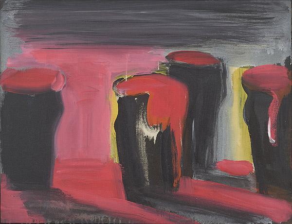 abstrakte Komposition in rot und schwarz