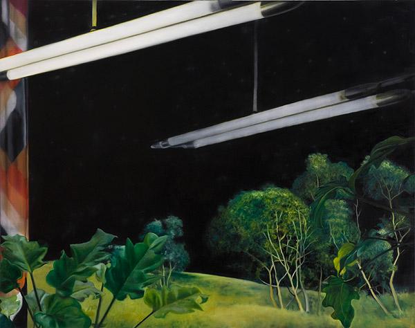 Neonlampen vor Pflanzen