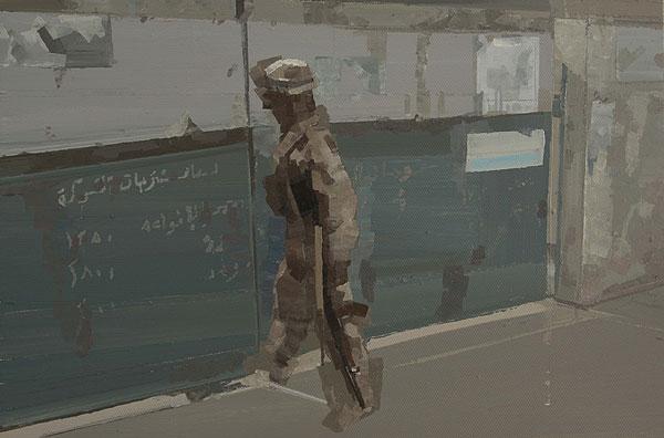 bewaffneter Soldat vor einer Tür