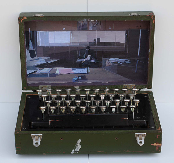 Schreibmaschinenkoffer mit eingebautem Bild