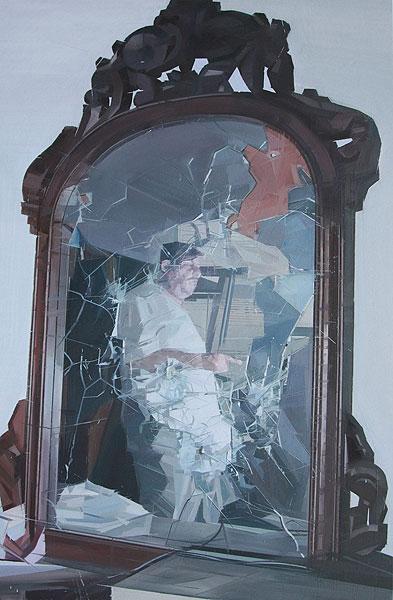 gerahmtes Bild mit zerbrochenem Glas
