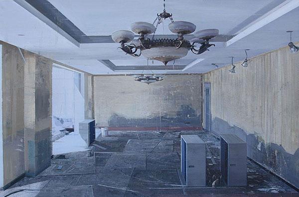 Innenraum mit Zerstörungen