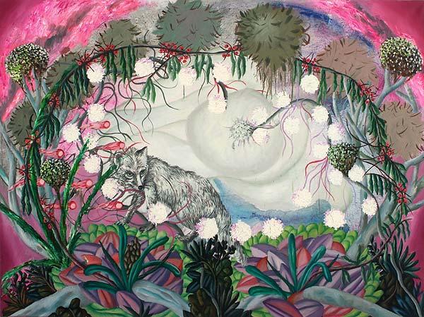paradiesische Landschaft mit einem weißen Fuchs