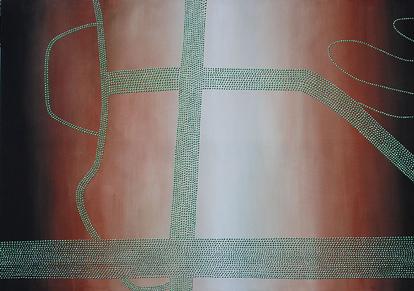 lange Reihen kleiner grüner Perlen