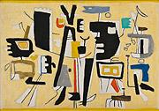 abstraktes Gemälde mit schwarzen Figuren auf gelbem Grund