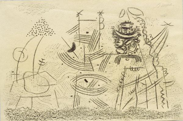 abstraktes graubetontes Gemälde mit teils farbigen geometrischen Elementen