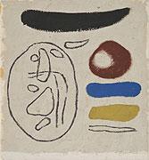 abstraktes farbiges Gemälde mit fließenden geometrischen Formen