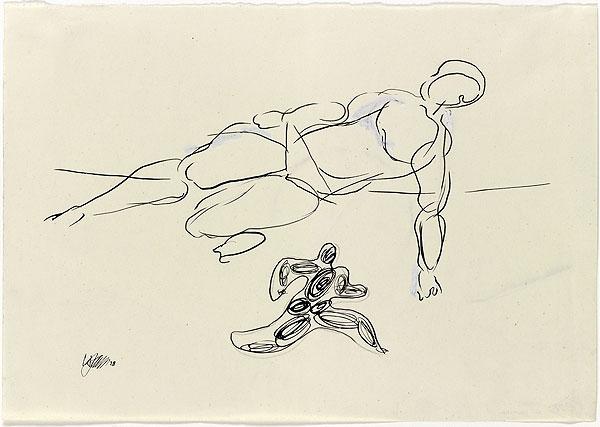 abstrakte Zeichnung mit einer springenden Person
