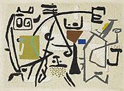 abstraktes graubraunbetontes Gemälde mit teils farbigen geometrischen Elementen